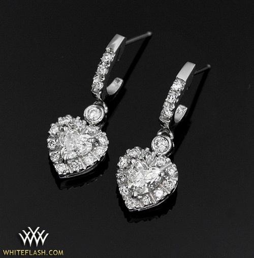 Platinum Diamond Heart Earrings set with two Heart…
