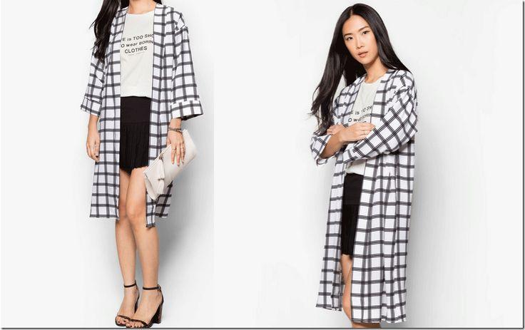grid print duster jacket