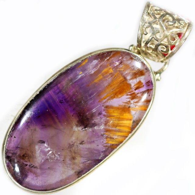 43.00 CTS SUPER SEVEN  SILVER PENDANTS-FACTORY DIRECT [SJ4592] super seven gemstone, silver gemstone pendant, silver pendant , holistic pendant