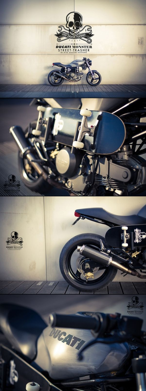 Rive Gauche Kustoms - Ducati 600 Monster + skate steez
