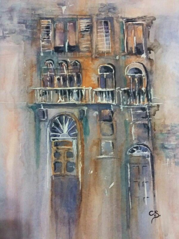old buildings water colour by Cavell Steenkamp