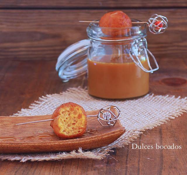 Sweet potato spiced fritters -  Buñuelos de boniato y dulce de leche