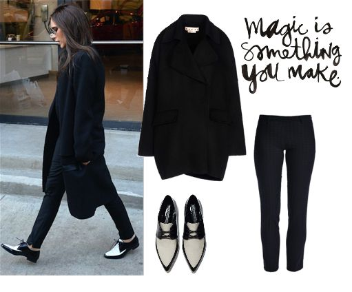 С чем носить черно-белые лакированные ботинки,  fashion look with black and white patent-leather shoes