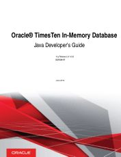 Oracle TimesTen In Memory Database Java Developer Guide