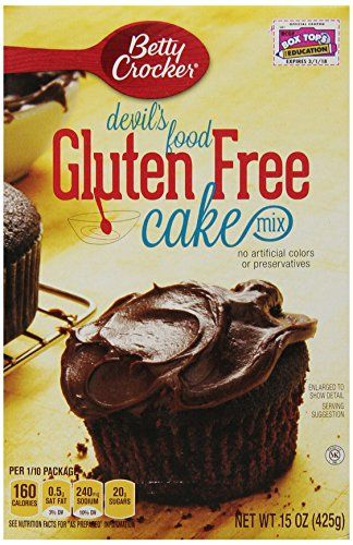Authentic Betty Crocker Gluten Free Devil's Food Cake Mix, 15-Ounce Boxes (Pack of 6), ,