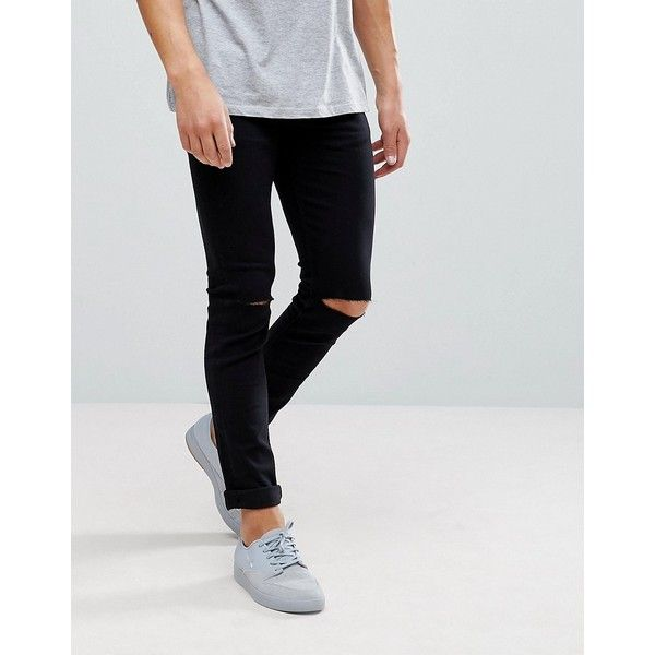 Only & Sons Skinny Jeans With Knee Rip ($55) ❤ liked on Polyvore featuring men's fashion, men's clothing, men's jeans, black, mens distressed skinny jeans, mens ripped denim jeans, mens denim jeans, mens destroyed skinny jeans and mens skinny jeans