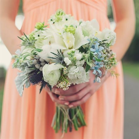 Blue and White Bouquet; orchids, silver artemesia, brunia, thistle, white stock, blue tweedia, wax flower, scabiosa, ranunculus.