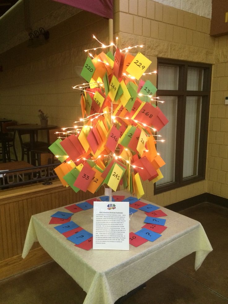 Envelope fundraiser tree: Each envelope has a different number on the card asking people to donate that amount