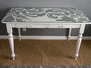 Custom Tabletop: Crafts Desks, Offices Desks, Paintings Furniture, Ideas, Crafts Rooms, Painted Desks, Paintings Tables, Painted Tables, Paintings Desks