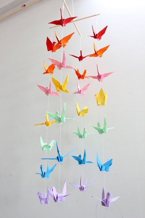 Baby Crib Mobile Origami Paper Crane Amazing Colorful Rainbow Cranes Mobiles for Children Bedroom Party Decor Special Gift for Baby Shower