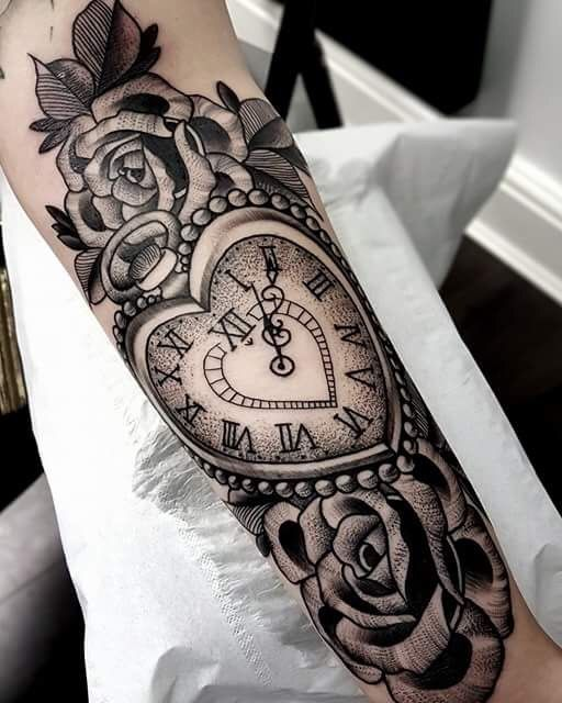 Stipples Heart Pocket Watch And Roses