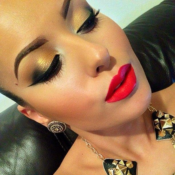Red lips + Gold smokey eye