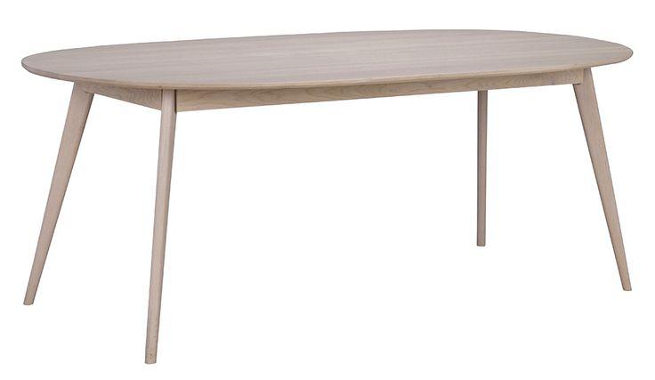Yumi matbord andas nordisk designretro. Fasad skiva och stilrent formsvarvade ben. Finns i fyra färger- vitlackad massiv björk, svartbetsad askfanér, oljad massiv ek samt lackad whitewash massiv ek.