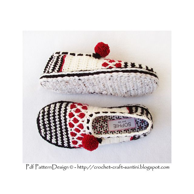 Ravelry: CROCHET SOLES + Sole-treatment - Tailored Method for how to Turn home slippers into street shoes pattern by Ingunn Santini
