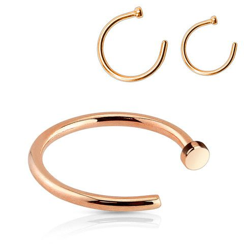 "316L Surgical Steel Rose Gold IP Nose Hoop Sizes: 20G 5/16"" 20G 3/8"" 18G 5/16""…"