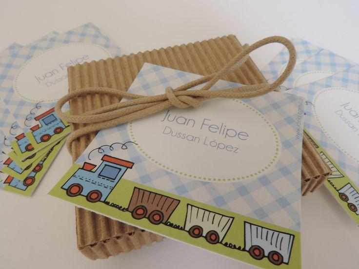 Tarjetas personales para marcar tus regalos. Tren