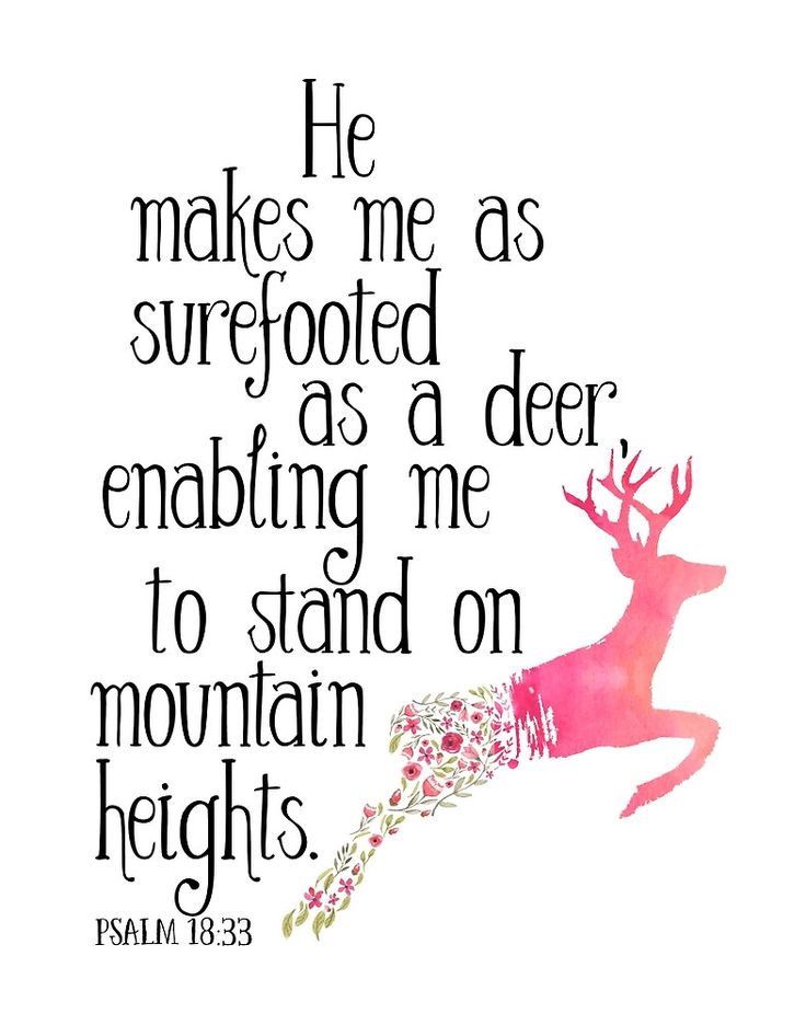 He makes me as surefooted as a deer, enabling me to stand on mountain heights. Psalm 18:33 by Pranatheory