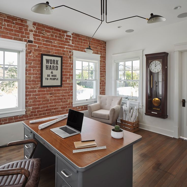 Rafterhouse Bungalow Exposed Red Brick Walls In Office