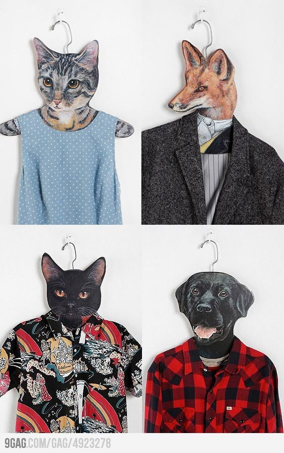 Animal clothes hangers - quite utterly mad, but i like it, especially the rather dapper looking fox!