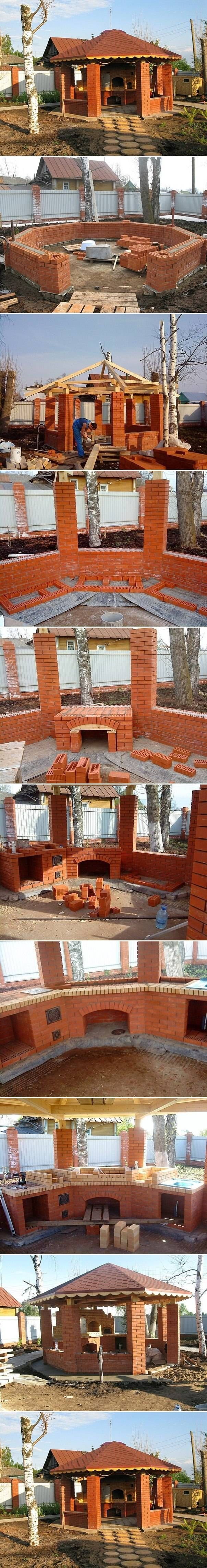DIY Gazebo With Barbecue @Tammy Genest ~ Paul NEEDS to build this in your big side yard! Minus the roof