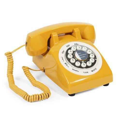 Téléphone en plastique jaune 20 x 28 cm VINTAGE CORNER