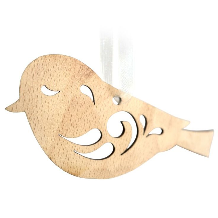 Combining the natural grain of the wood with the precise and detailed laser cut designs, our decorations are delicate and beautiful and suitable to be hung in any home. Each decoration has an attached ribbon so the decoration can be hung at ease. This particular design is that of a sitting bird, perhaps tweeting its favourite tune from the branches above. Hangs approximately 15 cm on attached ribbon. Dimensions - 10 x 5.5 x 0.2 cm* *handmade disclaimer