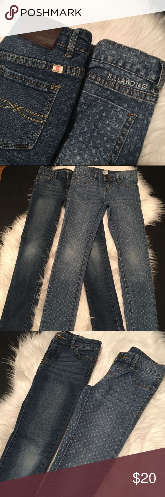 Lucky Brand and Billabong Girls Jeans - 2 Pairs Lucky 🍀 Brand Cate Skinny Jeans and Billabong Printed Jeans. Both size 8. GUC. Both have faded knees, but they are free from stains or tears/holes. Lucky Brand has adjustable waist. Feel free to make an offer using the offer link. Bundle 2+ listings to save more. 🚫Trades. 📦Same or next day shipping. 📫 Lucky Brand Bottoms Jeans