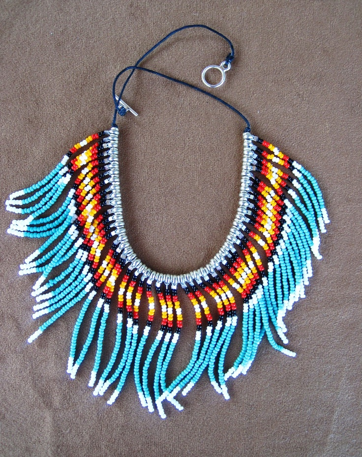 Native American style beaded collar necklace