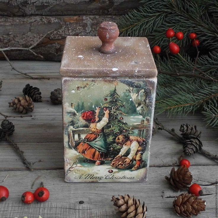 """Купить """"Деревенское Рождество"""" Короб из Ольхи - деревенский стиль, винтаж, Короб деревянный, короб для специй"""