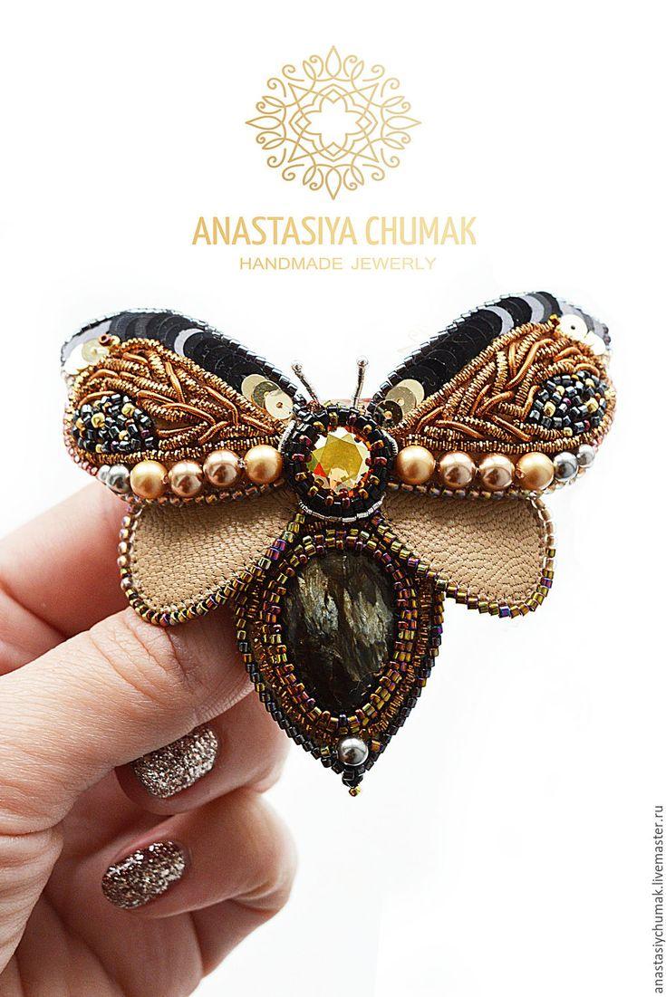 Купить Брошь Матылек - комбинированный, брошь, оригинальный подарок, брошка ручной работы, брошь бабочка
