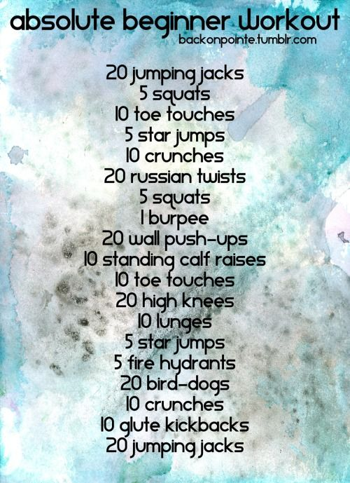 Are you brand new to fitness? Want to work out but don't know where to start? Intimidated by the burly men at the gym or Jillian Michaels' abs? Well, here's an easy workout for you! Try doing this workout three to five times a week, and take as many breaks for water or to catch your breath as you need. As it gets easy for you, move up to another one of my workouts. Don't know what an exercise is? Click the name below to see a video of it! Jumping Jacks Squats Toe Touches Star Jumps Crunches…