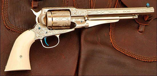 Converted 1858 Remington pattern revolver engraved by Rocky Hays  and featured in Guns of the Old West Magazine, Spring 2006