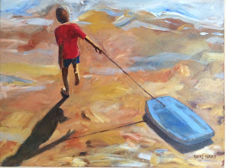 Bodyboard boy Acrylic on canvas