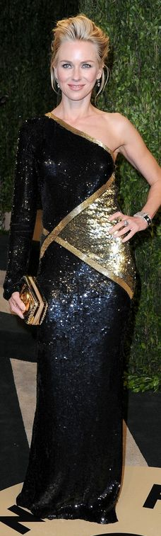 Who made  Naomi Watts' gold and blackone sleeve gown that she wore in West Hollywood on February 24, 2013?