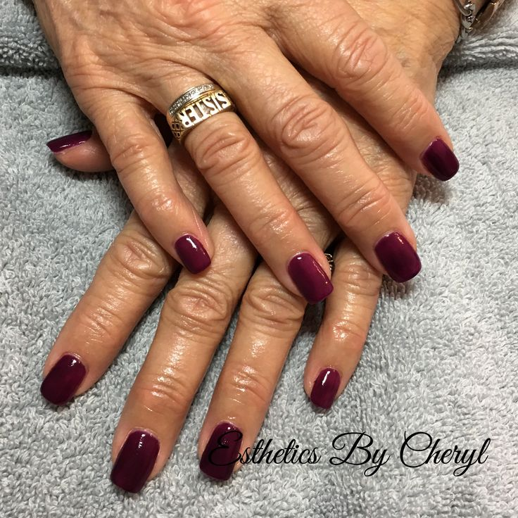 Wine Coloured sculpted gel nails