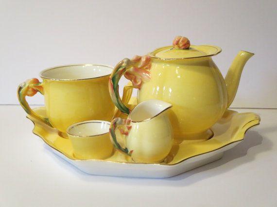 Antique Royal Winton Grimwades tea, breakfast set /Collectible yellow Tiger Lilly Grimwades collectible/Antique Royal Winton England service