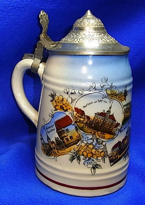 Vintage German Miniature Lidded Beer Stein Souvenir Neustadt a. d. Aisch #XX