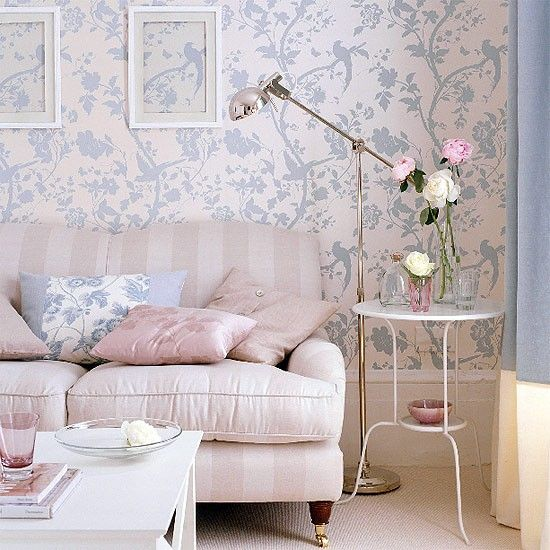 Pink and blue floral living room