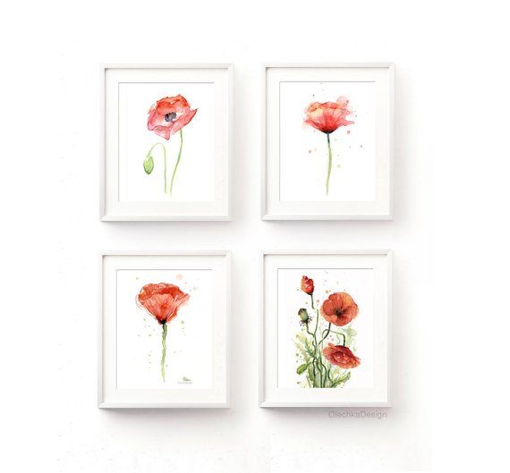 Poppy Wall Art Poppy Print Red Poppy Watercolor Red Poppy Etsy Poppy Wall Art Watercolor Flower Art Floral Watercolor Paintings