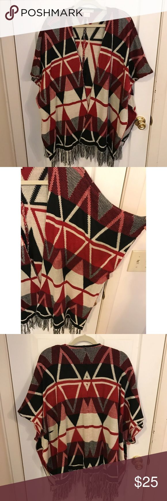 Aztec-y poncho/cardigan Pretty batwing cardigan/cape perfect for fall or cold summer nights. Wore this a few times to football games last fall!! Looks really nice with a black or white long sleeve top or v neck t shirt under it with jeans 😊 love this thing but time for a new home Flying Tomato Sweaters Shrugs & Ponchos
