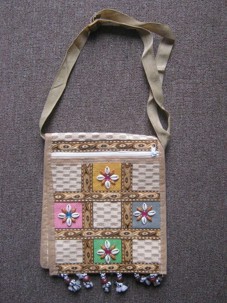 Designer jute and cotton handbags with handmade design work