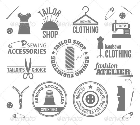 Sewing Equipment Labels by macrovector Sewing equipment fashion tailor accessories black labels set isolated vector illustration. Editable EPS and Render in JPG format