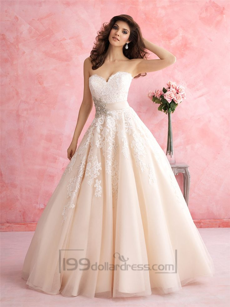 Strapless Sweetheart A-line Lace Ball Gown Wedding Dress