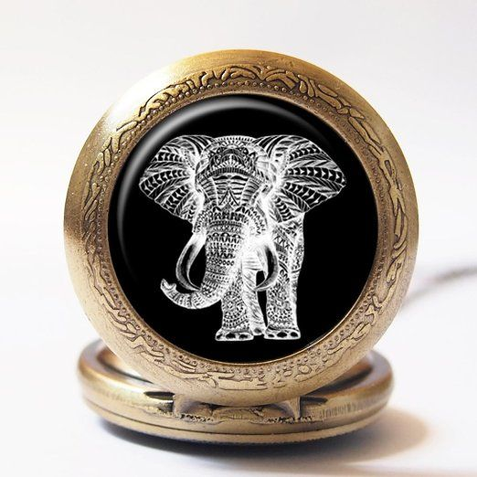 Vintage Aztec Tribal Elephant Animal Hippie Hand Craft Handmade Silver or Gold Stainless Steel Quartz Pocket Watch