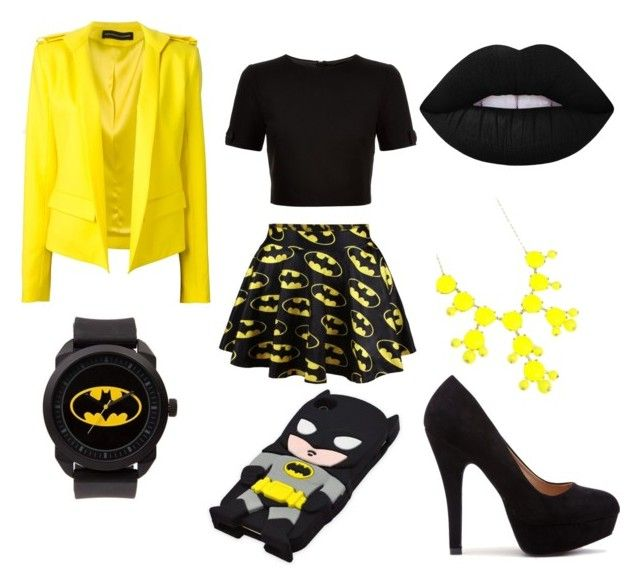 Batman fashion by dianka-donutek-jasanska on Polyvore featuring Ted Baker, Alexandre Vauthier, Erica Lyons and Lime Crime