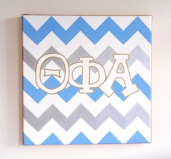hand painted Theta Phi Alpha letters outline with chevron background 12x12 canvas OFFICIAL LICENSED PRODUCT