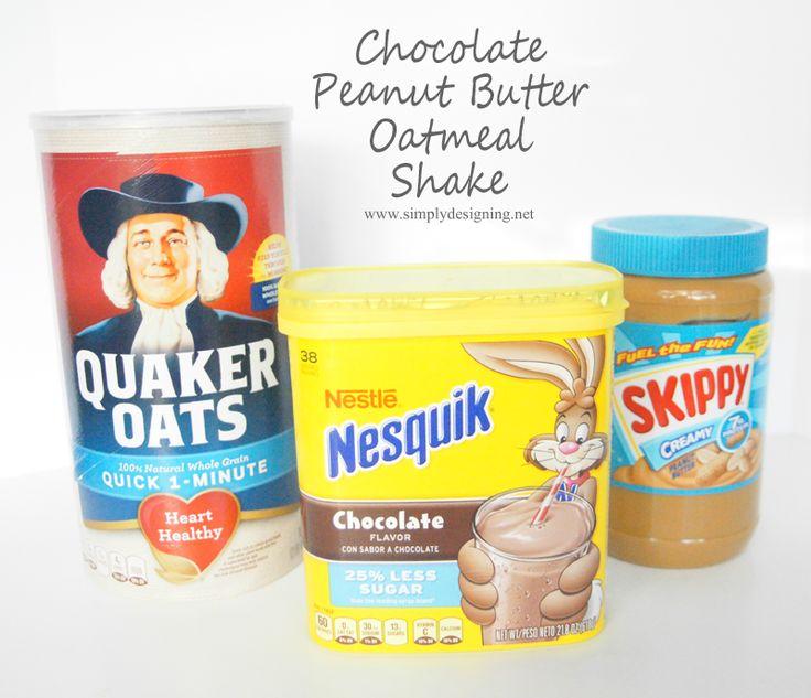 Chocolate Peanut Butter Oatmeal Shake | a tasty breakfast shake that kids will love | #foodmadesimple #shop #breakfast #shake