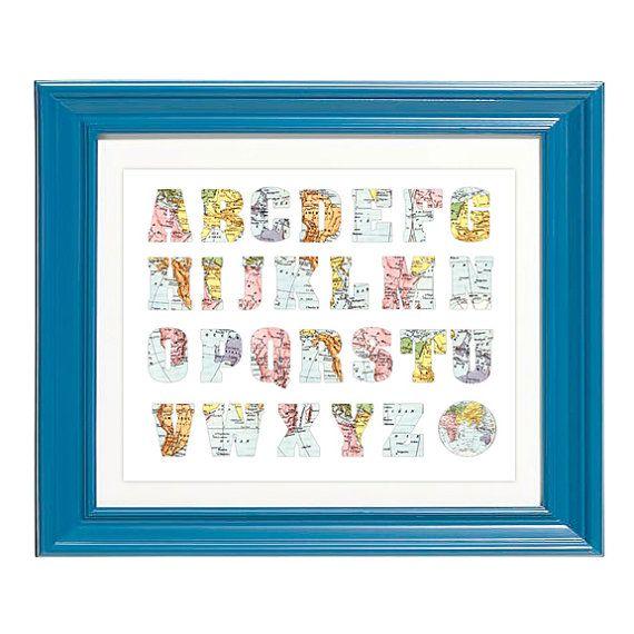 Printable Map Alphabet vintage playroom nursery by CheekyAlbi
