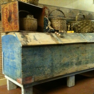 Primitive Barn Box...chippy blue...with wood crate & old baskets.