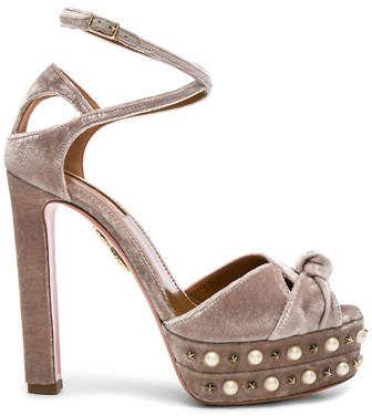 Aquazzura Velvet Harlow Pearls Plateau Heels